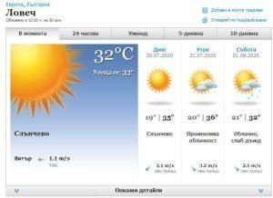 Жълт код за опасно горещо време за област Ловеч е обявен за днес и утре