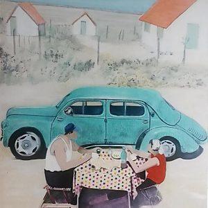 Художникът среща автомобила в изложба с джаз в Троян